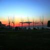 sunset in izmir beach.